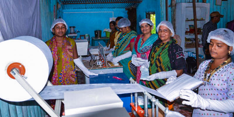 self-help group at sanitary napkin production unit