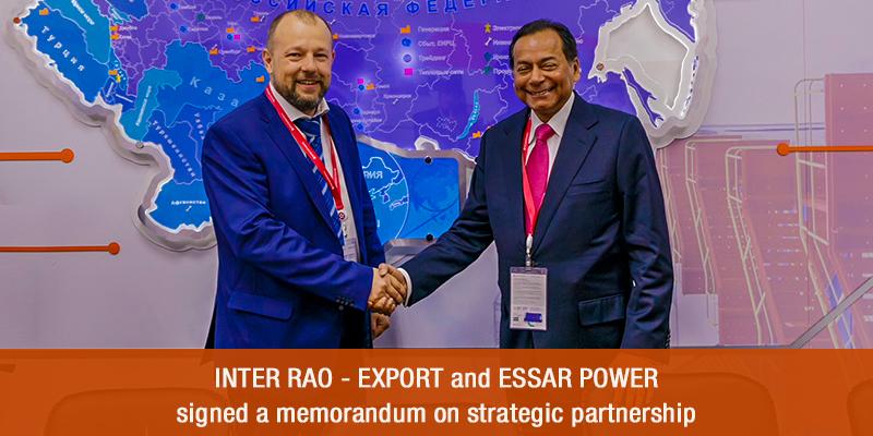 INTER RAO - EXPORT and Essar Power signed a memorandum on strategic partnership