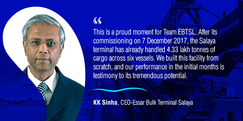 Mr KK Sinha, CEO-Essar Bulk Terminal Salaya Ltd