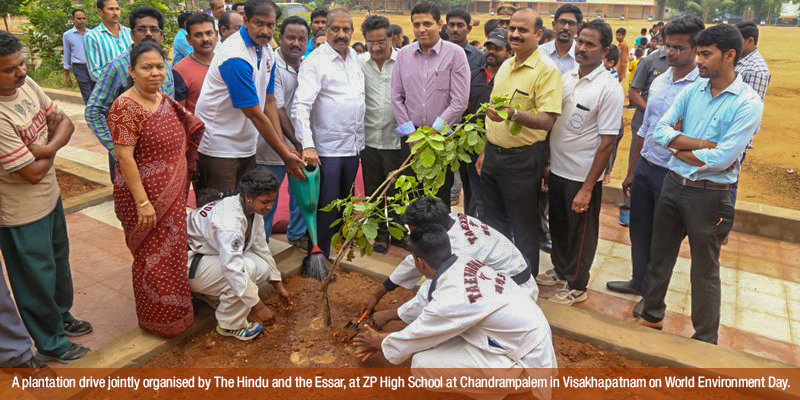 A plantation drive jointly organised by The Hindu and the ESSAR
