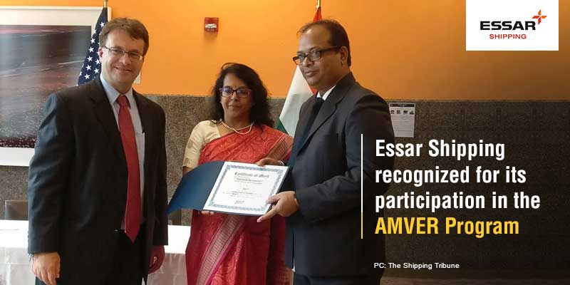 Essar Shipping recognized for its participation in the AMVER Program
